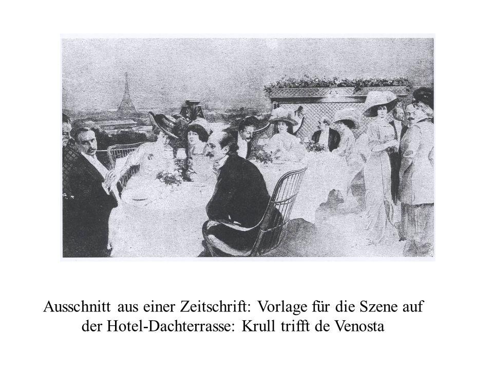 Ausschnitt aus einer Zeitschrift: Vorlage für die Szene auf der Hotel-Dachterrasse: Krull trifft de Venosta