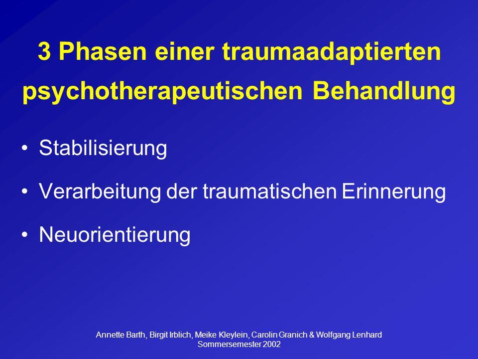 Annette Barth, Birgit Irblich, Meike Kleylein, Carolin Granich & Wolfgang Lenhard Sommersemester 2002 Was ist EMDR.