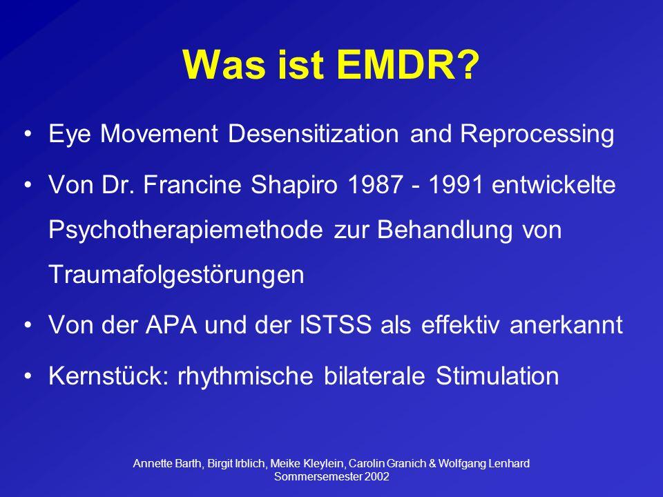 Annette Barth, Birgit Irblich, Meike Kleylein, Carolin Granich & Wolfgang Lenhard Sommersemester 2002 Reliable Veränderungen -EMDR, REDDR: nur 3 von 10 Vpn (33,33%) verbesserten sich (M-PTSD) 6 von 10 Vpn (66,67%) zeigten keine Veränderung oder verschlechterten sich -kein signifikanter Unterschied zwischen den Behandlungsbedingungen