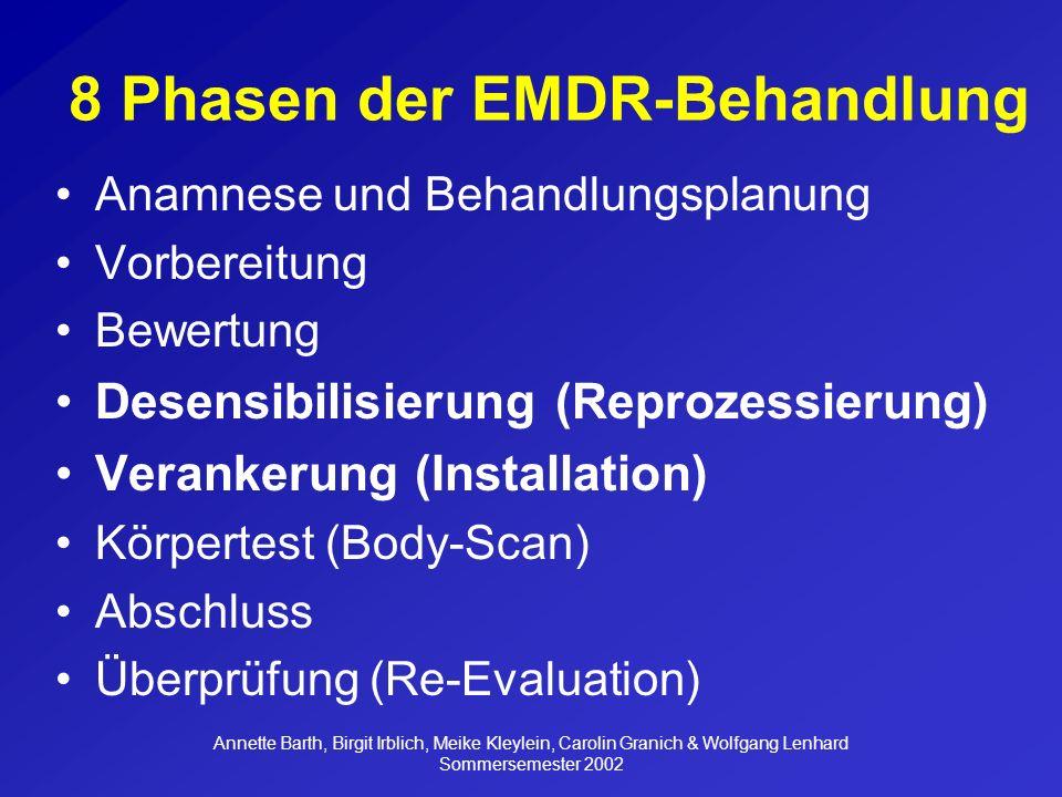 Annette Barth, Birgit Irblich, Meike Kleylein, Carolin Granich & Wolfgang Lenhard Sommersemester 2002 Was soll mit der EMDR- Behandlung erreicht werden.