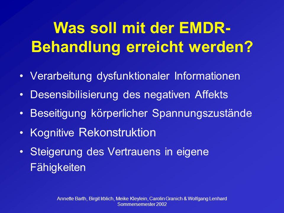 Annette Barth, Birgit Irblich, Meike Kleylein, Carolin Granich & Wolfgang Lenhard Sommersemester 2002 2.