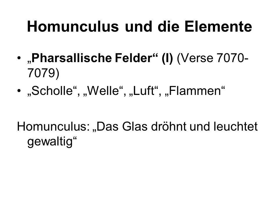 Homunculus und die Elemente Pharsallische Felder (I) (Verse 7070- 7079) Scholle, Welle, Luft, Flammen Homunculus: Das Glas dröhnt und leuchtet gewalti