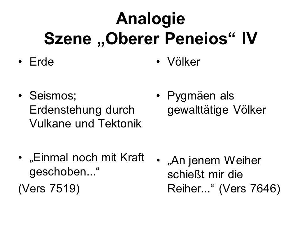 Analogie Szene Oberer Peneios IV Erde Seismos; Erdenstehung durch Vulkane und Tektonik Einmal noch mit Kraft geschoben... (Vers 7519) Völker Pygmäen a