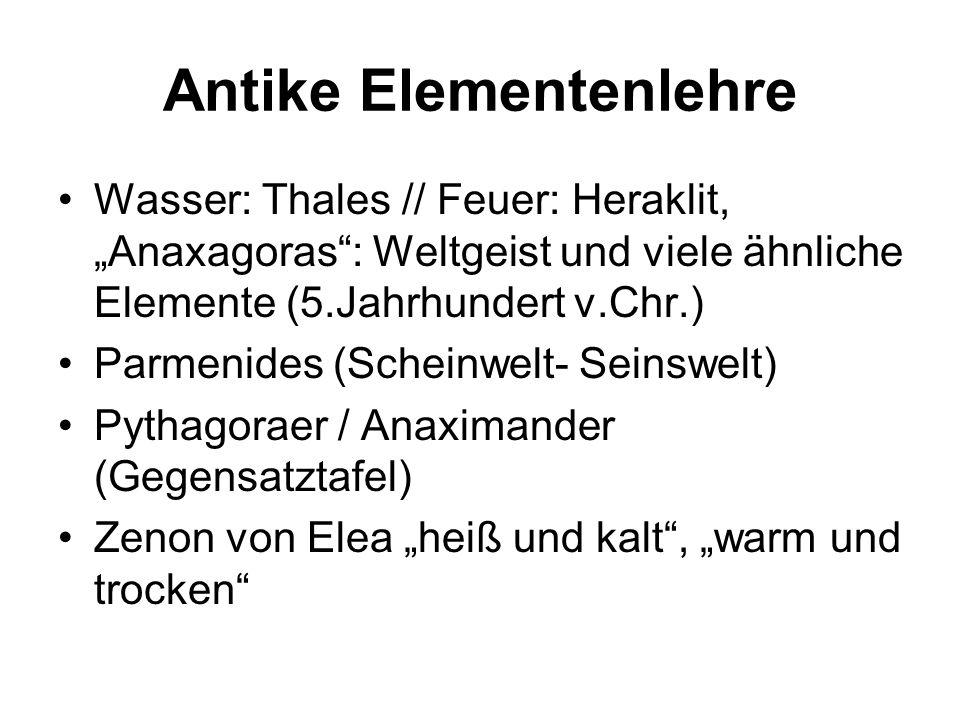 Antike Elementenlehre Wasser: Thales // Feuer: Heraklit, Anaxagoras: Weltgeist und viele ähnliche Elemente (5.Jahrhundert v.Chr.) Parmenides (Scheinwe