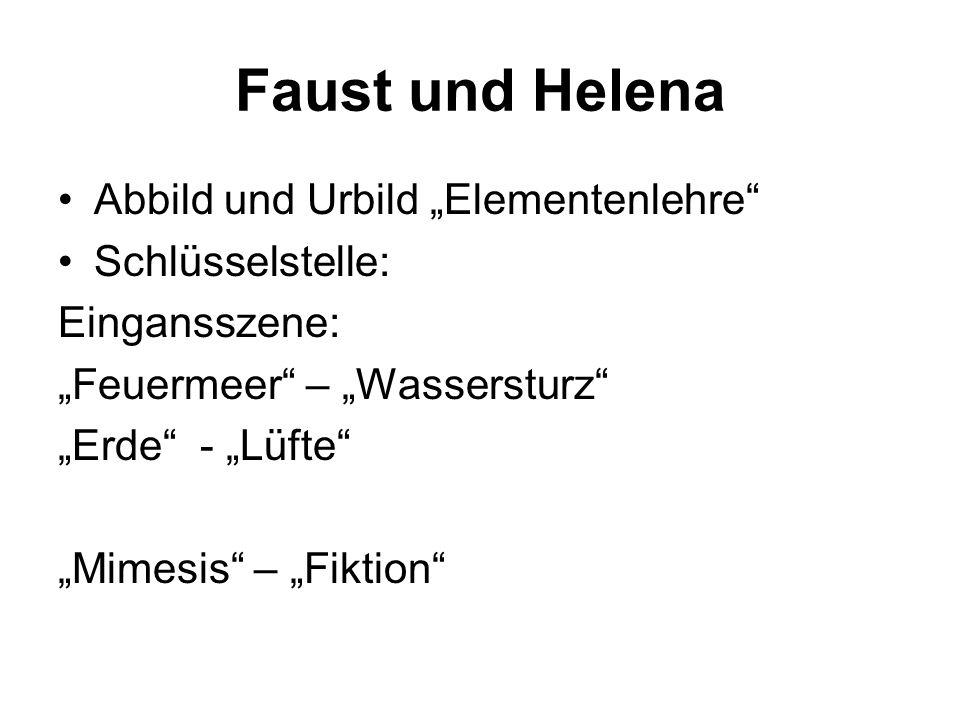 Faust und Helena Abbild und Urbild Elementenlehre Schlüsselstelle: Eingansszene: Feuermeer – Wassersturz Erde - Lüfte Mimesis – Fiktion