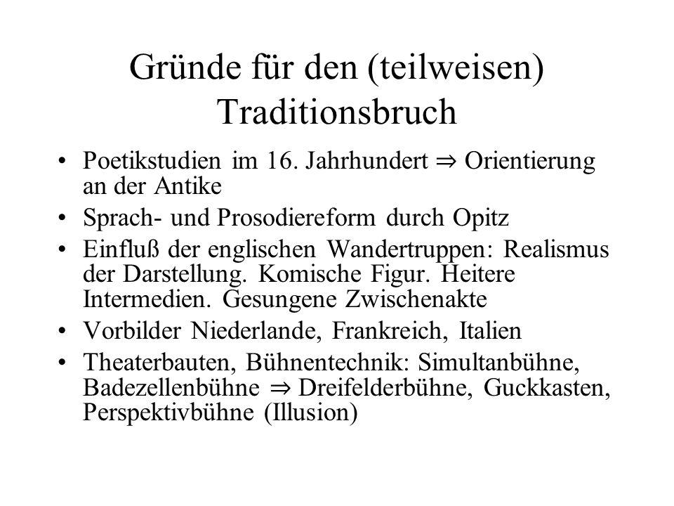 Gründe für den (teilweisen) Traditionsbruch Poetikstudien im 16. Jahrhundert Orientierung an der Antike Sprach- und Prosodiereform durch Opitz Einfluß