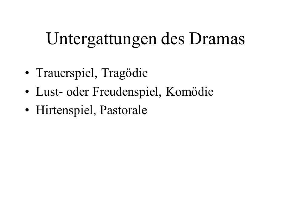 Untergattungen des Dramas Trauerspiel, Tragödie Lust- oder Freudenspiel, Komödie Hirtenspiel, Pastorale
