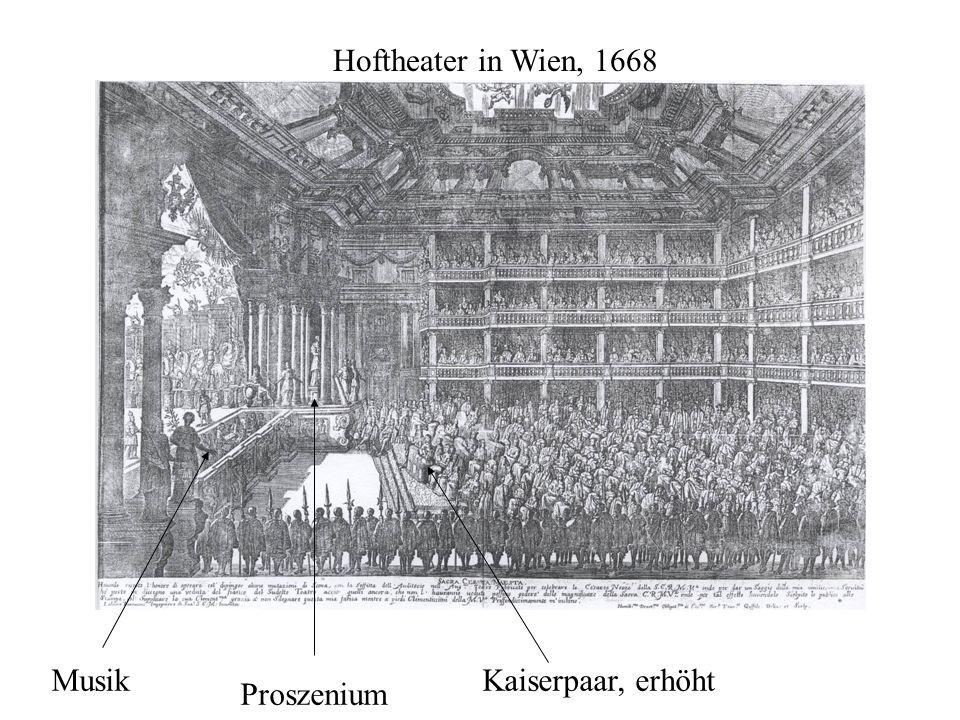 Hoftheater in Wien, 1668 Musik Proszenium Kaiserpaar, erhöht