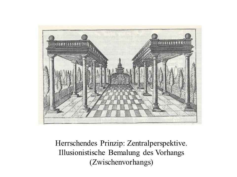Herrschendes Prinzip: Zentralperspektive. Illusionistische Bemalung des Vorhangs (Zwischenvorhangs)