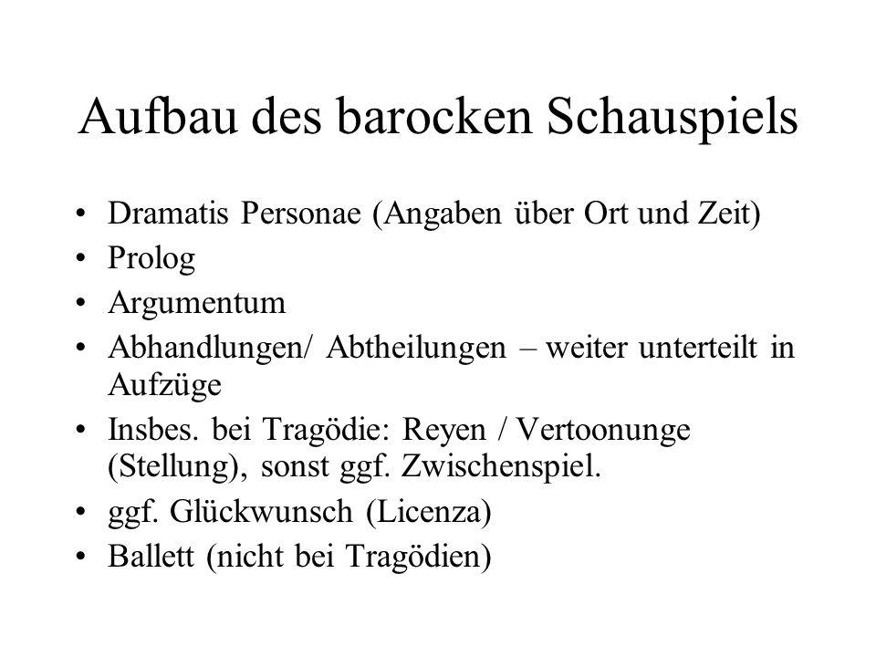 Aufbau des barocken Schauspiels Dramatis Personae (Angaben über Ort und Zeit) Prolog Argumentum Abhandlungen/ Abtheilungen – weiter unterteilt in Aufz