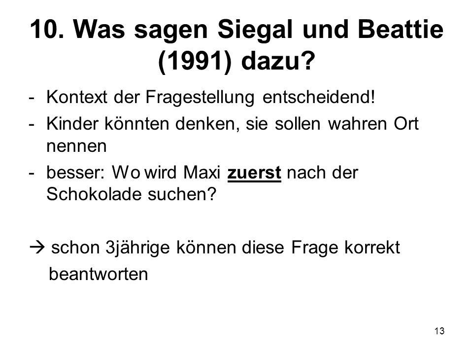 13 10. Was sagen Siegal und Beattie (1991) dazu? -Kontext der Fragestellung entscheidend! -Kinder könnten denken, sie sollen wahren Ort nennen -besser