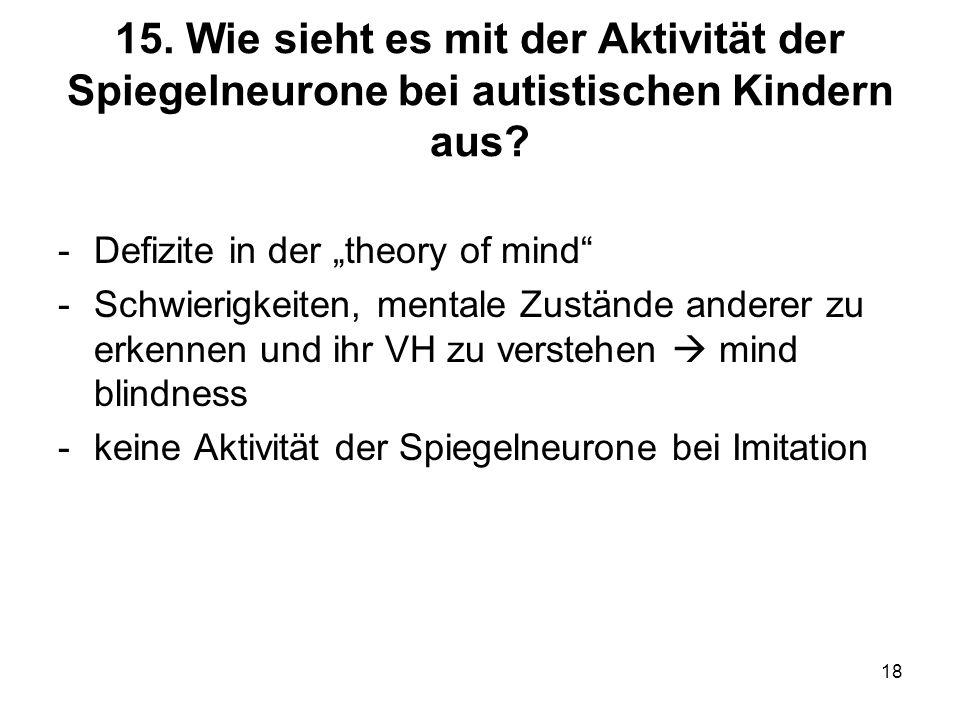 18 15. Wie sieht es mit der Aktivität der Spiegelneurone bei autistischen Kindern aus? -Defizite in der theory of mind -Schwierigkeiten, mentale Zustä