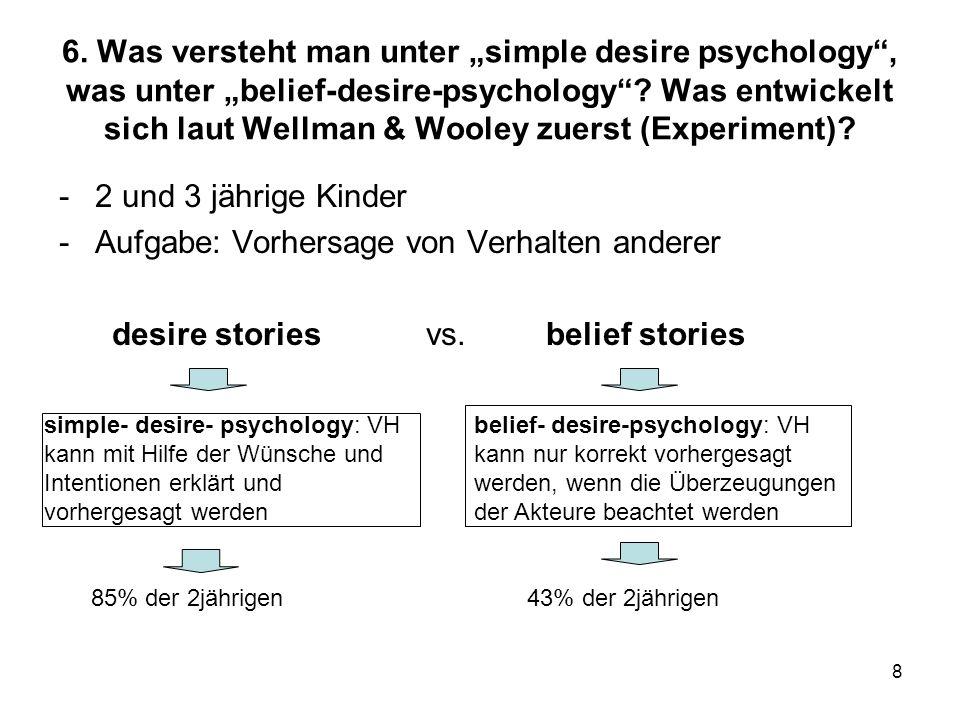 8 6. Was versteht man unter simple desire psychology, was unter belief-desire-psychology? Was entwickelt sich laut Wellman & Wooley zuerst (Experiment