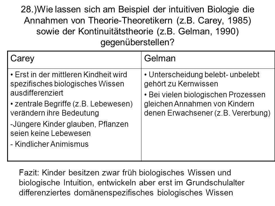28.)Wie lassen sich am Beispiel der intuitiven Biologie die Annahmen von Theorie-Theoretikern (z.B. Carey, 1985) sowie der Kontinuitätstheorie (z.B. G