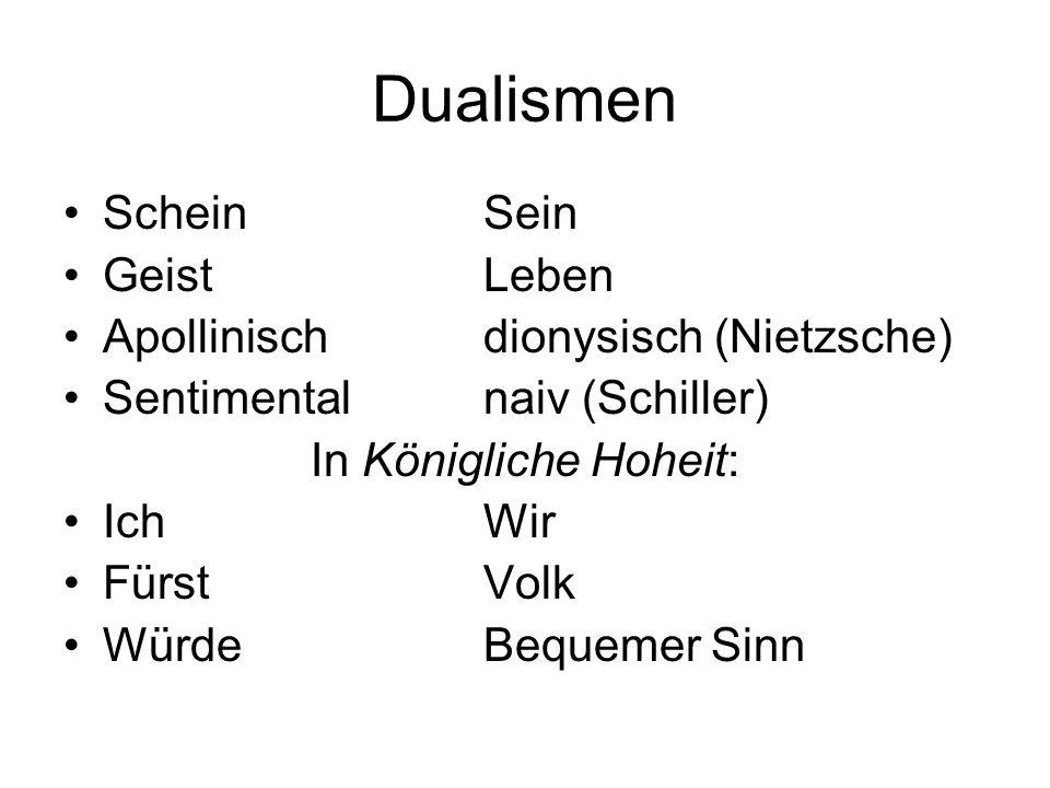 Dualismen ScheinSein GeistLeben Apollinischdionysisch (Nietzsche) Sentimentalnaiv (Schiller) In Königliche Hoheit: Ich Wir Fürst Volk Würde Bequemer S