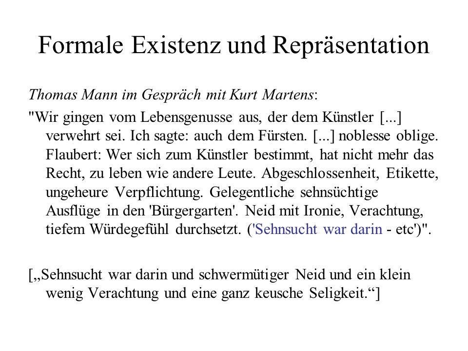 Formale Existenz und Repräsentation Thomas Mann im Gespräch mit Kurt Martens: