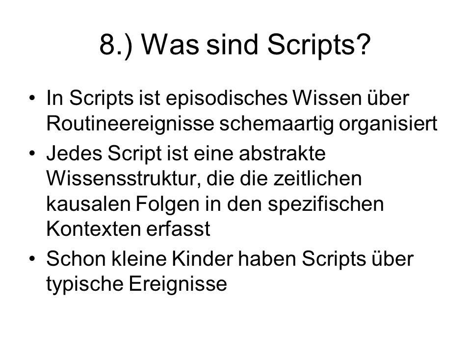 8.) Was sind Scripts? In Scripts ist episodisches Wissen über Routineereignisse schemaartig organisiert Jedes Script ist eine abstrakte Wissensstruktu