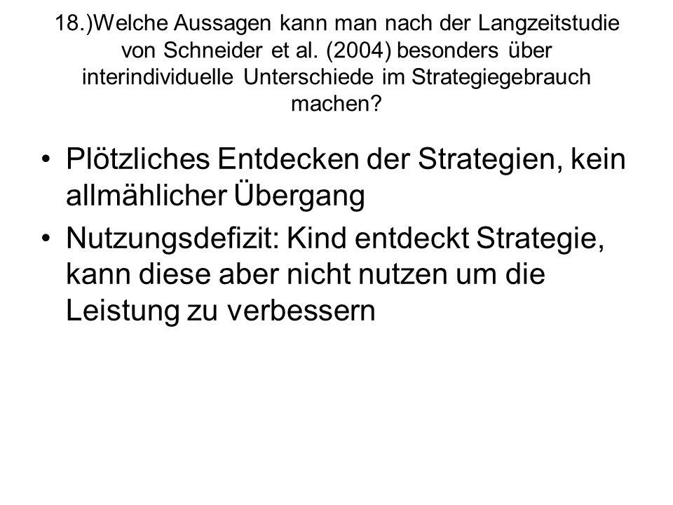 18.)Welche Aussagen kann man nach der Langzeitstudie von Schneider et al. (2004) besonders über interindividuelle Unterschiede im Strategiegebrauch ma