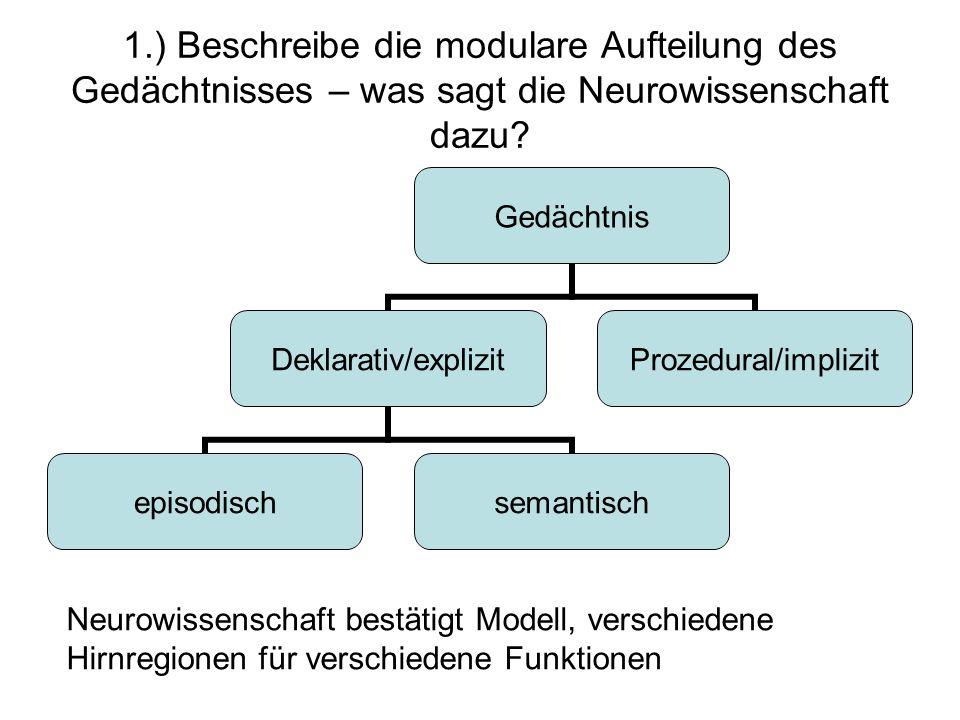 1.) Beschreibe die modulare Aufteilung des Gedächtnisses – was sagt die Neurowissenschaft dazu? Gedächtnis Deklarativ/explizit episodischsemantisch Pr