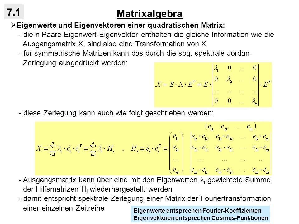 Matrixalgebra 7.1 Eigenwerte und Eigenvektoren einer quadratischen Matrix: - die n Paare Eigenwert-Eigenvektor enthalten die gleiche Information wie d