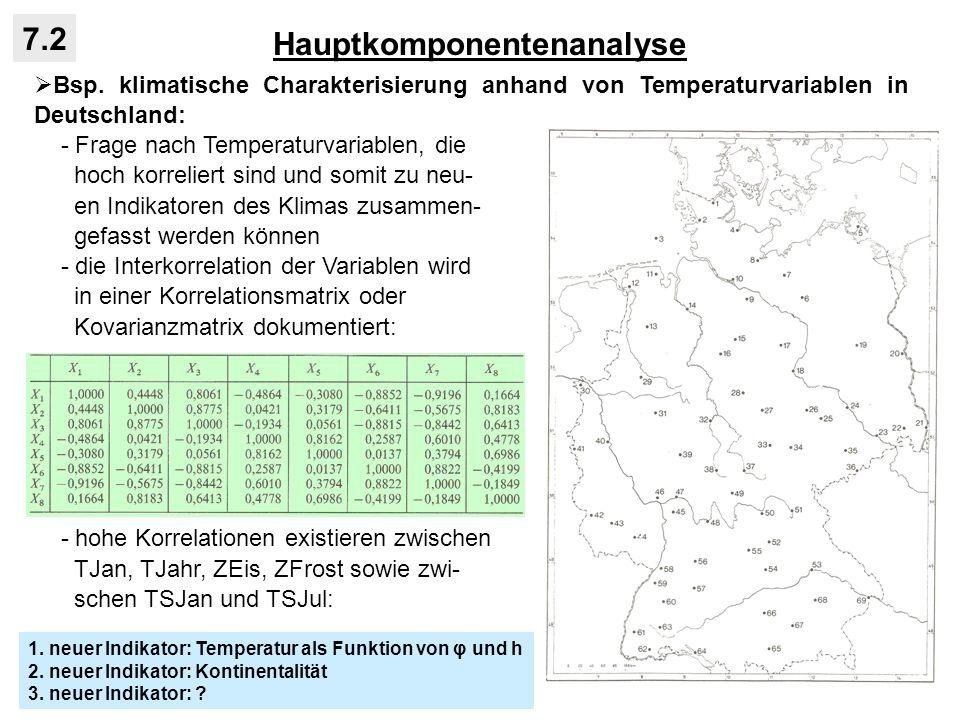 Hauptkomponentenanalyse 7.2 Bsp. klimatische Charakterisierung anhand von Temperaturvariablen in Deutschland: - Frage nach Temperaturvariablen, die ho