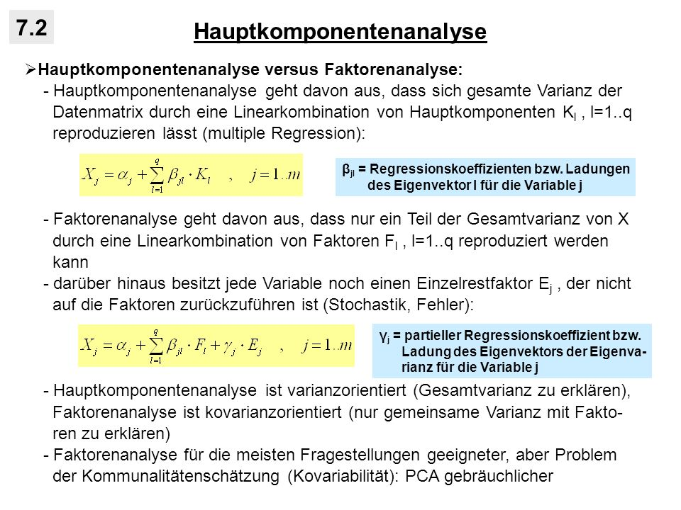 Hauptkomponentenanalyse 7.2 Hauptkomponentenanalyse versus Faktorenanalyse: - Hauptkomponentenanalyse geht davon aus, dass sich gesamte Varianz der Da