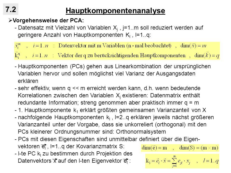 Hauptkomponentenanalyse 7.2 Vorgehensweise der PCA: - Datensatz mit Vielzahl von Variablen X j, j=1..m soll reduziert werden auf geringere Anzahl von