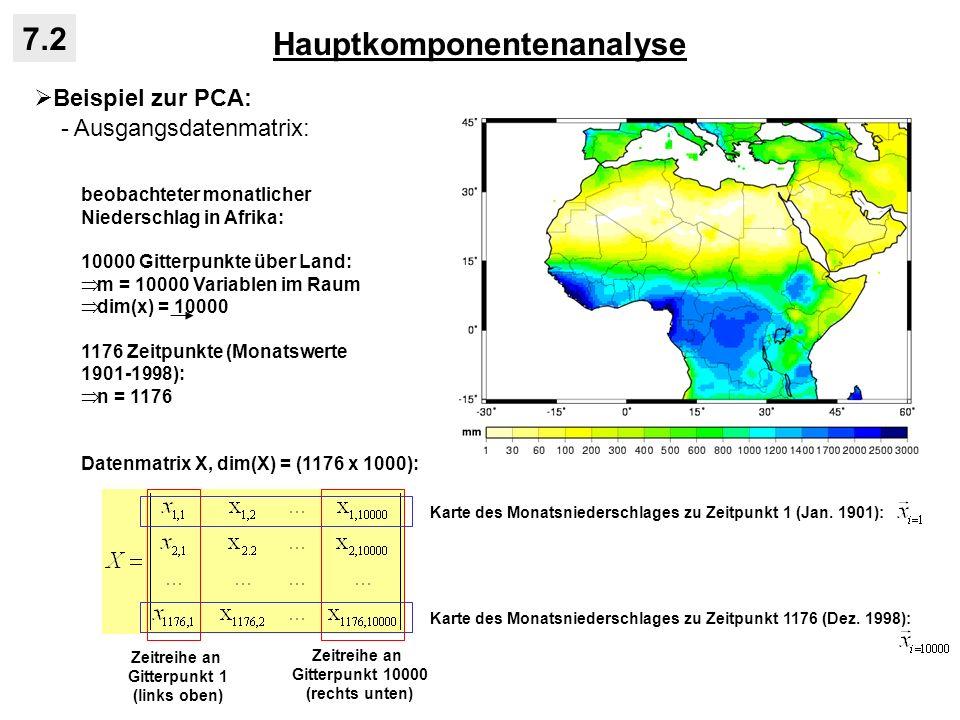 Hauptkomponentenanalyse 7.2 Beispiel zur PCA: - Ausgangsdatenmatrix: beobachteter monatlicher Niederschlag in Afrika: 10000 Gitterpunkte über Land: m