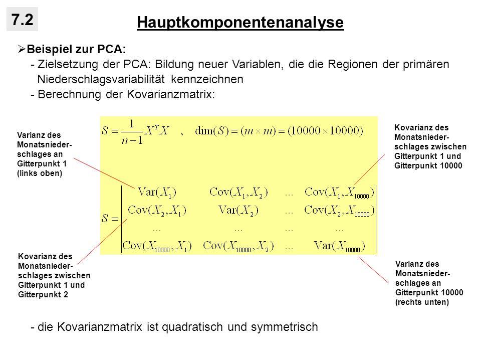 Hauptkomponentenanalyse 7.2 Beispiel zur PCA: - Zielsetzung der PCA: Bildung neuer Variablen, die die Regionen der primären Niederschlagsvariabilität