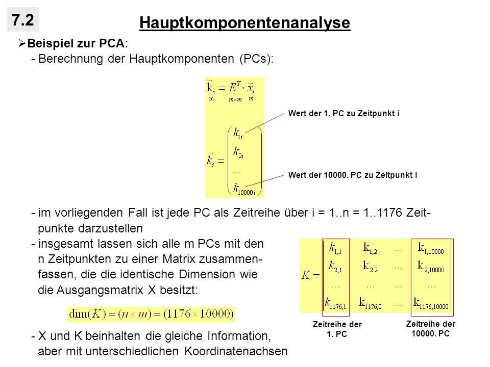 Hauptkomponentenanalyse 7.2 Beispiel zur PCA: - Berechnung der Hauptkomponenten (PCs): - im vorliegenden Fall ist jede PC als Zeitreihe über i = 1..n