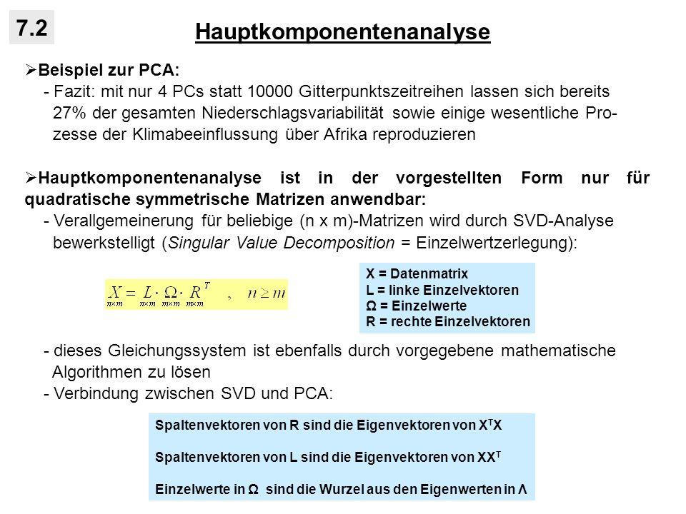 Hauptkomponentenanalyse 7.2 Beispiel zur PCA: - Fazit: mit nur 4 PCs statt 10000 Gitterpunktszeitreihen lassen sich bereits 27% der gesamten Niedersch