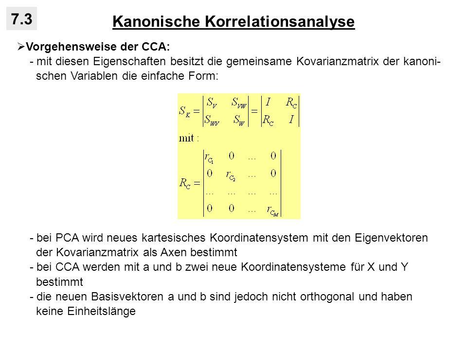 Kanonische Korrelationsanalyse 7.3 Vorgehensweise der CCA: - mit diesen Eigenschaften besitzt die gemeinsame Kovarianzmatrix der kanoni- schen Variabl