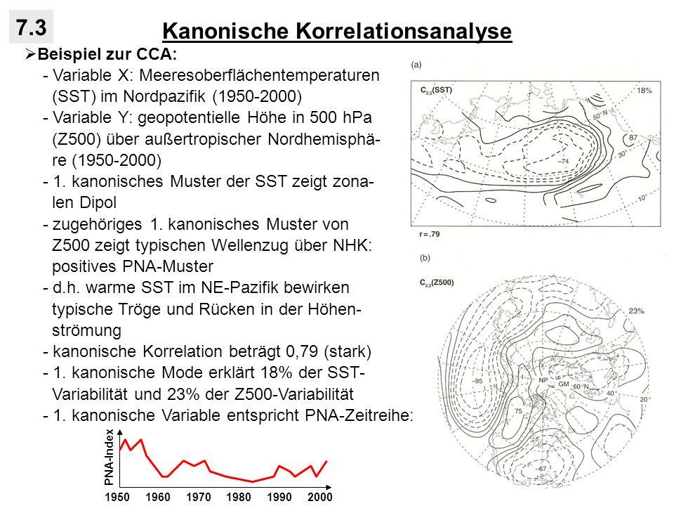 Kanonische Korrelationsanalyse 7.3 Beispiel zur CCA: - Variable X: Meeresoberflächentemperaturen (SST) im Nordpazifik (1950-2000) - Variable Y: geopot