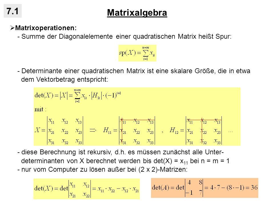 Matrixalgebra 7.1 Matrixoperationen: - Summe der Diagonalelemente einer quadratischen Matrix heißt Spur: - Determinante einer quadratischen Matrix ist