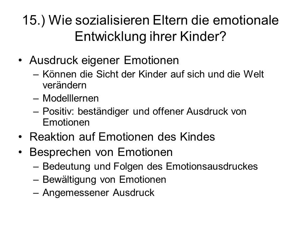 15.) Wie sozialisieren Eltern die emotionale Entwicklung ihrer Kinder? Ausdruck eigener Emotionen –Können die Sicht der Kinder auf sich und die Welt v