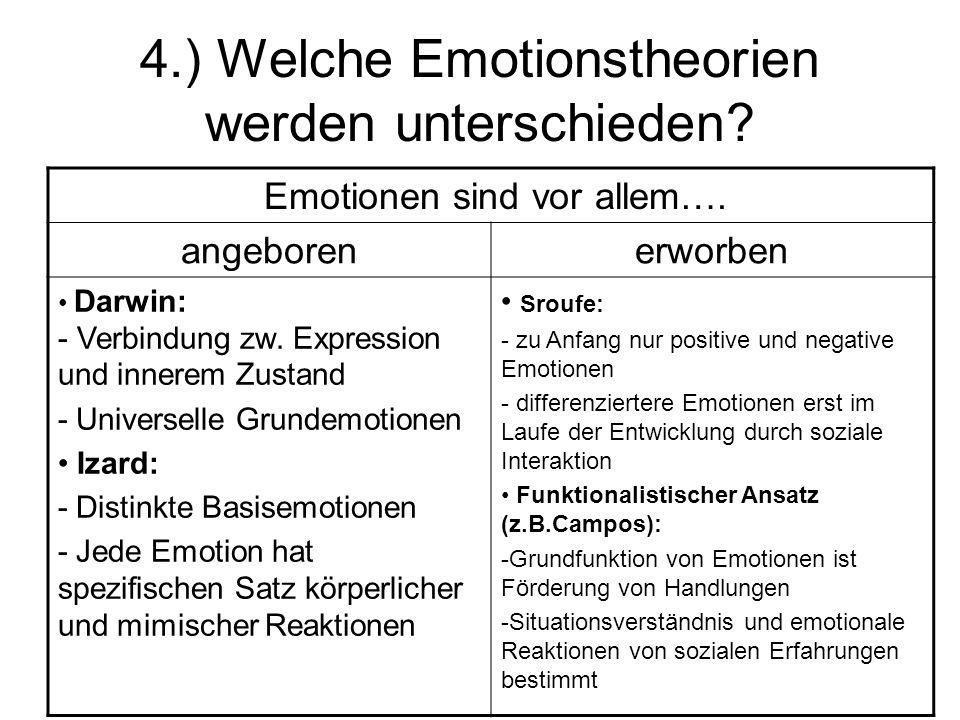 4.) Welche Emotionstheorien werden unterschieden? Emotionen sind vor allem…. angeborenerworben Darwin: - Verbindung zw. Expression und innerem Zustand
