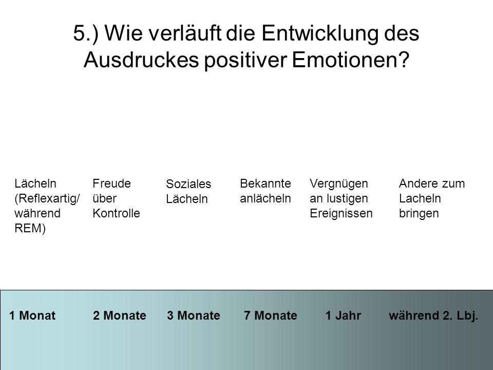 5.) Wie verläuft die Entwicklung des Ausdruckes positiver Emotionen? 1 Monat 2 Monate 3 Monate 7 Monate 1 Jahr während 2. Lbj. Lächeln (Reflexartig/ w