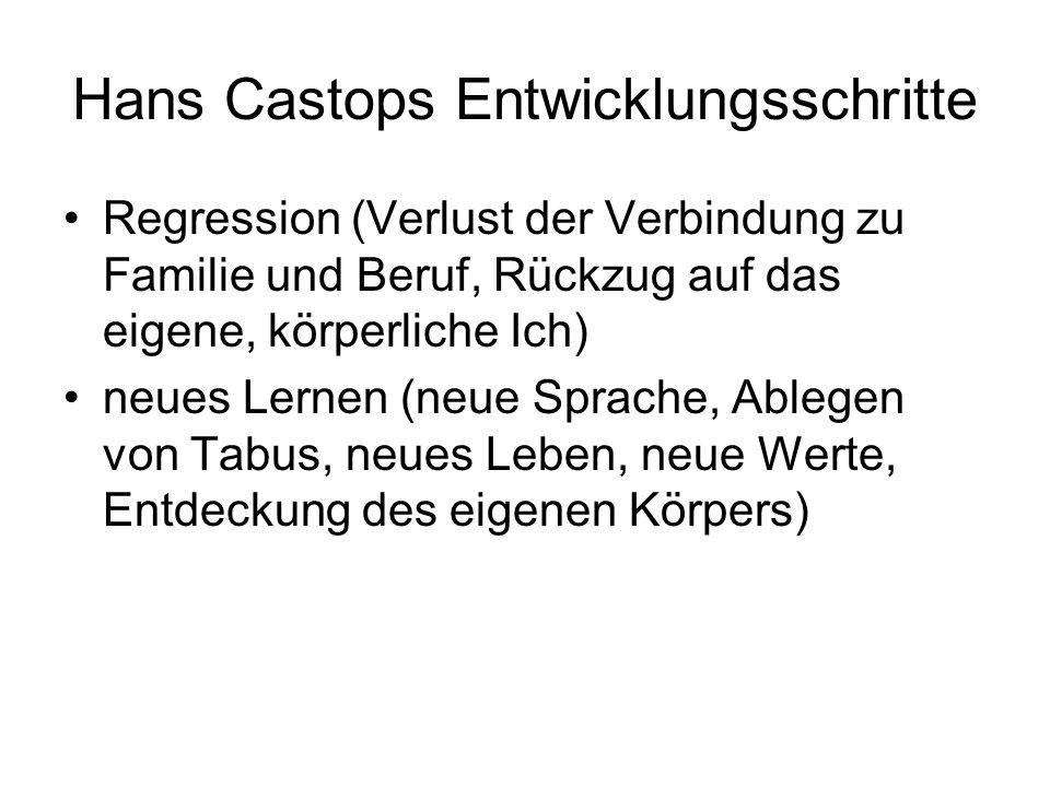 Hans Castops Entwicklungsschritte Regression (Verlust der Verbindung zu Familie und Beruf, Rückzug auf das eigene, körperliche Ich) neues Lernen (neue