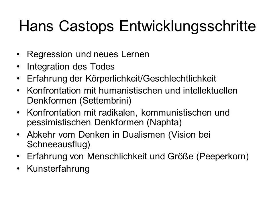 Hans Castops Entwicklungsschritte Regression und neues Lernen Integration des Todes Erfahrung der Körperlichkeit/Geschlechtlichkeit Konfrontation mit