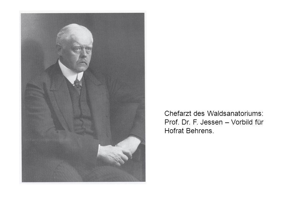Chefarzt des Waldsanatoriums: Prof. Dr. F. Jessen – Vorbild für Hofrat Behrens.
