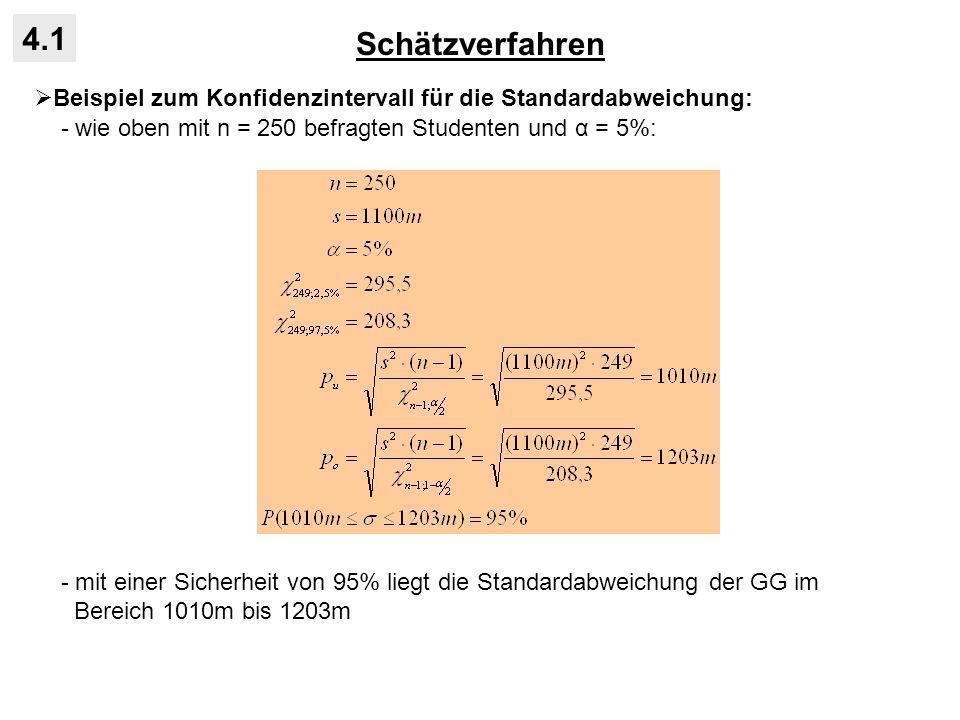 Schätzverfahren 4.1 Beispiel zum Konfidenzintervall für die Standardabweichung: - wie oben mit n = 250 befragten Studenten und α = 5%: - mit einer Sic