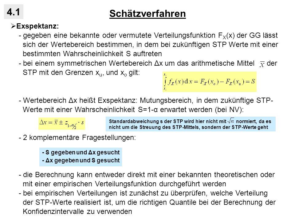 Schätzverfahren 4.1 Exspektanz: - gegeben eine bekannte oder vermutete Verteilungsfunktion F X (x) der GG lässt sich der Wertebereich bestimmen, in de