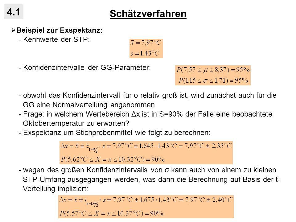 Schätzverfahren 4.1 Beispiel zur Exspektanz: - Kennwerte der STP: - Konfidenzintervalle der GG-Parameter: - obwohl das Konfidenzintervall für σ relati