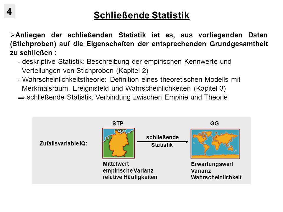 Schließende Statistik 4 in der schließenden Statistik gibt es zwei Arten von Fragestellungen: 1.) Frage nach den Eigenschaften (Parametern) der GG gegeben eine STP (Schätzverfahren) 2.) Frage nach Zugehörigkeit einer oder mehrerer STP zu einer bzw.