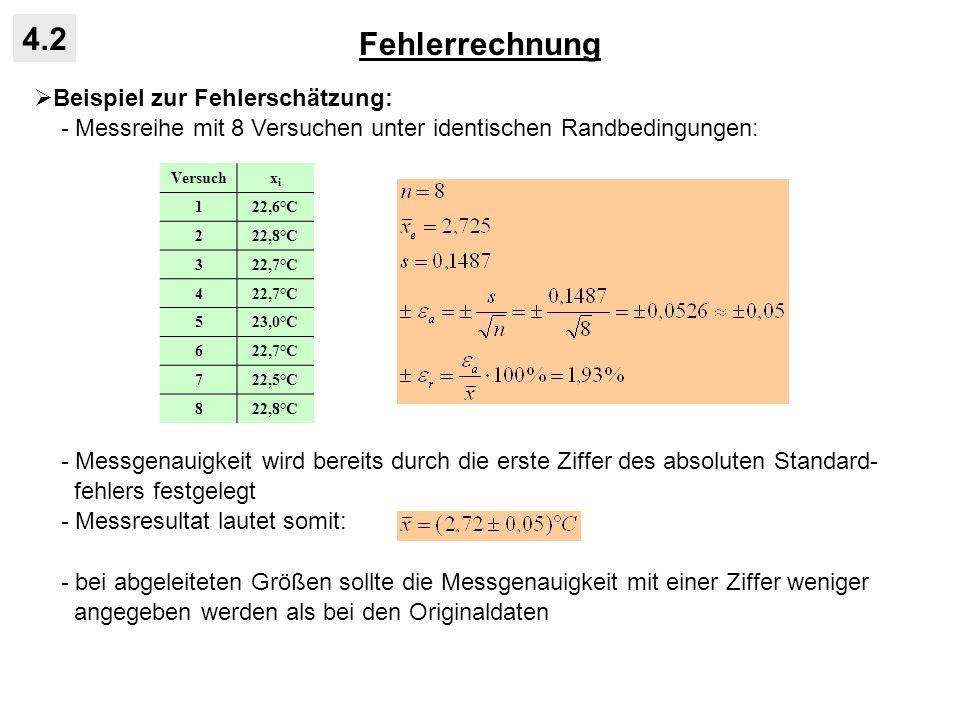 Fehlerrechnung 4.2 Beispiel zur Fehlerschätzung: - Messreihe mit 8 Versuchen unter identischen Randbedingungen: - Messgenauigkeit wird bereits durch d