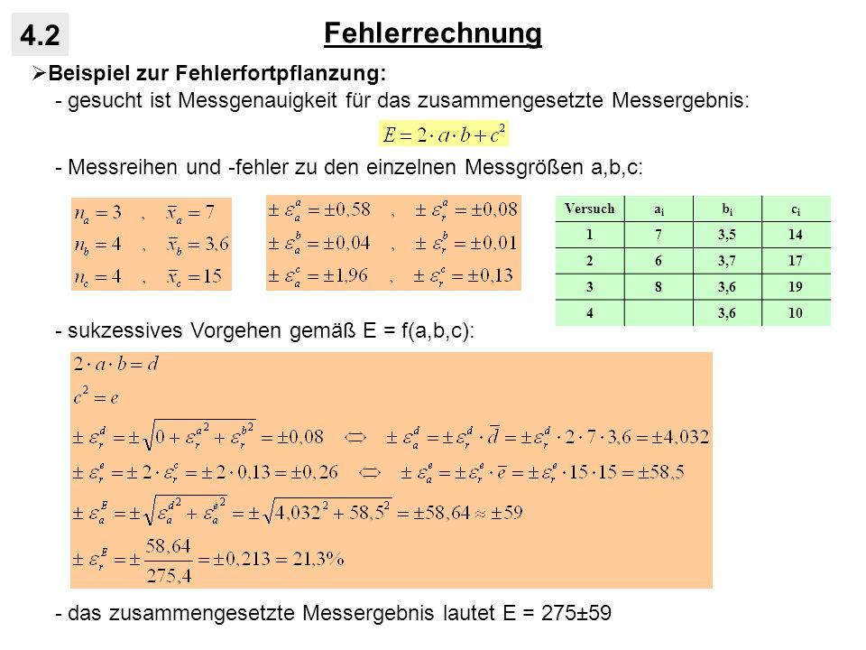 Fehlerrechnung 4.2 Beispiel zur Fehlerfortpflanzung: - gesucht ist Messgenauigkeit für das zusammengesetzte Messergebnis: - Messreihen und -fehler zu