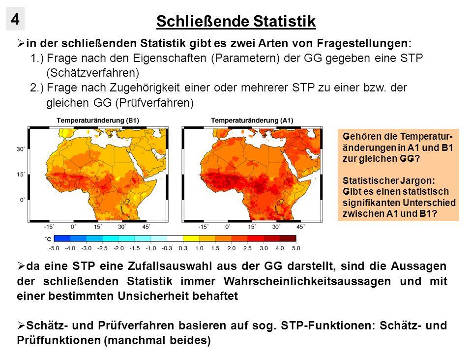 Schätzverfahren 4.1 Beispiel zur Exspektanz: - mittlere Oktobertemperaturen in Würzburg 1911-1960 (n = 50): - Einteilung in 7 Klassen mit absoluten, rela- tiven und akkumulierten Häufigkeiten: - graphische Schnellprüfung der klassifizierten Messwerte auf Normalverteilung: Wahrscheinlichkeitsnetz - Abzisse: Klassenobergrenzen - Ordinate: kumulative prozentuale Häufigkeiten Gerade NV(x,s)