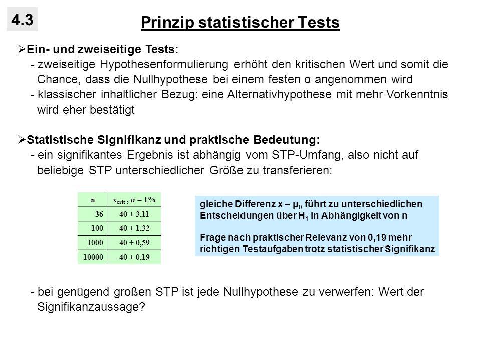 Prinzip statistischer Tests 4.3 Ein- und zweiseitige Tests: - zweiseitige Hypothesenformulierung erhöht den kritischen Wert und somit die Chance, dass