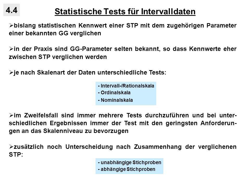 Statistische Tests für Intervalldaten 4.4 bislang statistischen Kennwert einer STP mit dem zugehörigen Parameter einer bekannten GG verglichen in der