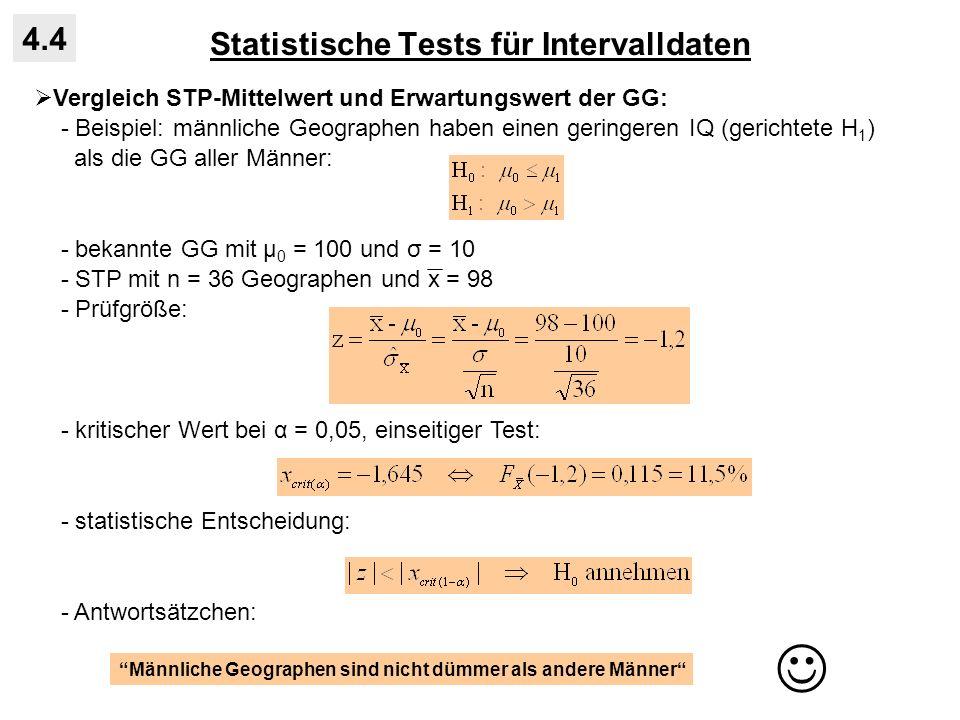 Statistische Tests für Intervalldaten 4.4 Vergleich STP-Mittelwert und Erwartungswert der GG: - Beispiel: männliche Geographen haben einen geringeren